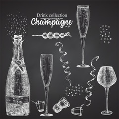 Set hand drawn sketch bottle and glasses champagne, on black chalckboard Vintage design bar, restaurant, cafe menu on white background. Graphic vector art Creative template for flyer, banner, poster