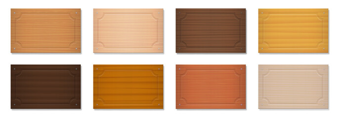 Wooden signboards, blank nameplates, rectangular badges. Set with different colors and textures from various trees - brown, dark, gray, light, red, yellow, orange decor models - vector on white.
