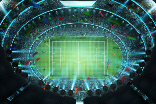 Aerial top angle view of imaginary soccer stadium with illumination . 3D rendering .