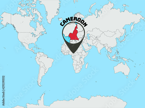 Cameroon Silhouette on Global world map with all continents ...