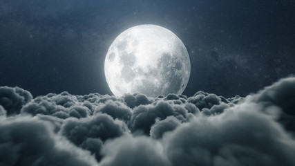 Fototapeta Beautiful realistic flight over cumulus lush clouds in the night moonlight. A large full moon shines brightly on a deep starry night. Cinematic scene. 3d illustration obraz