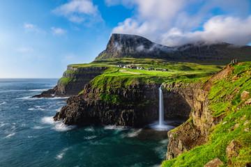 Mulafossur Waterfall in Faroe Islands