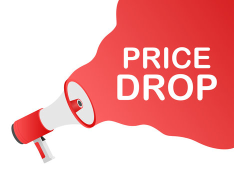Price drop - megaphone loudspeaker with message Price drop. Vector illustration.