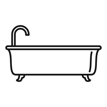 Bathtub icon. Outline bathtub vector icon for web design isolated on white background