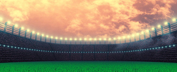 3D Rendering of soccer sport stadium, green grass during sunset with crowd of audience wearing red shirt. Bright led spot lights and white clouds