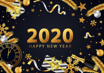 Happy new year 2020 background, beautifully decorated in gold