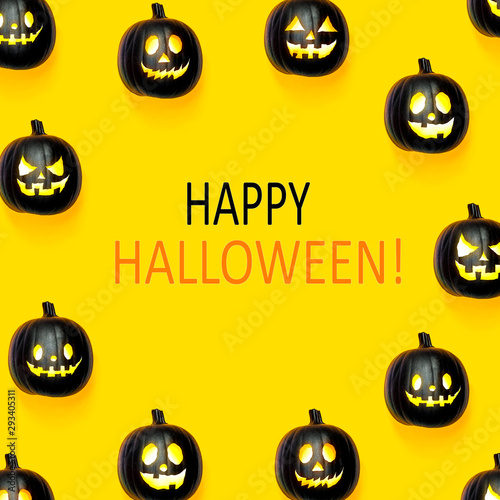 Happy Halloween message with black colored pumpkin lanterns