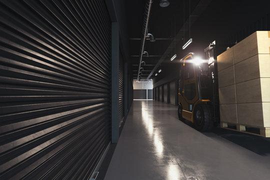 Forklift transporting cargo at warehouse. Forklift loader at storehouse. Pallet stacker truck equipment. 3d rendering.