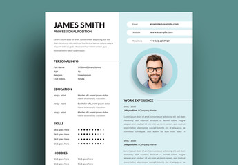 Resume Layout with Colorful Sidebar