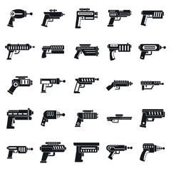 Blaster gun icons set. Simple set of blaster gun vector icons for web design on white background