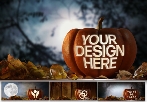 Carved Halloween Pumpkin Mockup