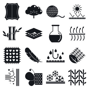 Fabric feature icons set. Simple set of fabric feature vector icons for web design on white background