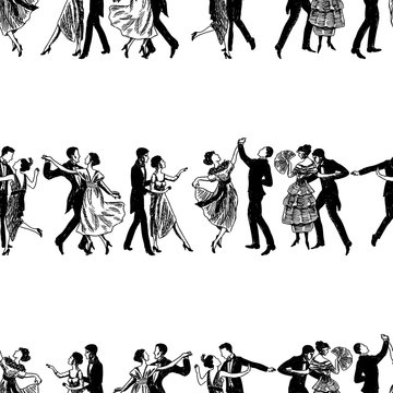 Seamless background of sketches of dancing vintage couple