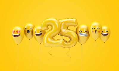 Fototapeta Number 25 yellow birthday emoji faces balloons. 3D Render obraz