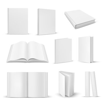 Set of isolated opened and closed realistic book