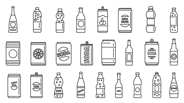 Cold soda icons set. Outline set of cold soda vector icons for web design isolated on white background