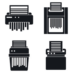 Paper shredder icons set. Simple set of paper shredder vector icons for web design on white background