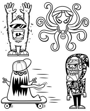 Graffiti Monsters Line Art