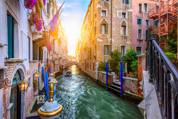 Tuinposter Venice Narrow canal with bridge in Venice, Italy. Architecture and landmark of Venice. Cozy cityscape of Venice.