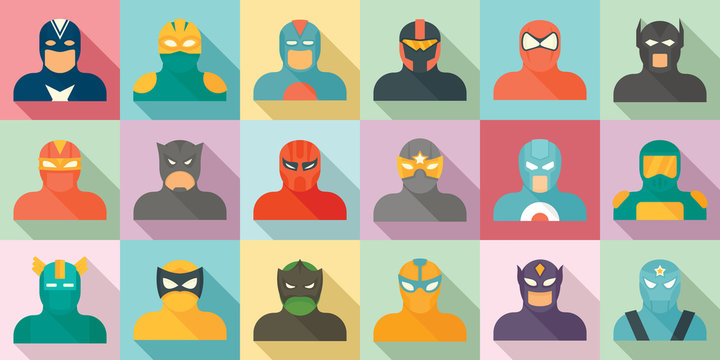 Superhero icons set. Flat set of superhero vector icons for web design