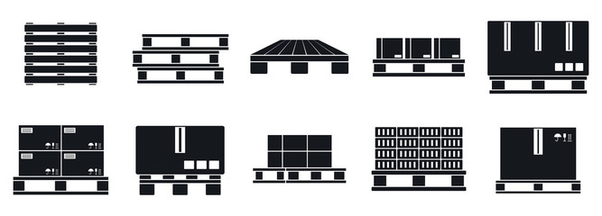 Pallet tray icons set. Simple set of pallet tray vector icons for web design on white background