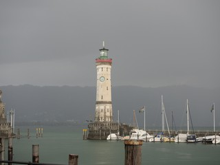Lake Constance in rain clouds