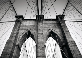Poster Brooklyn Bridge Brooklyn Bridge in black and white, NYC, Manhattan, USA