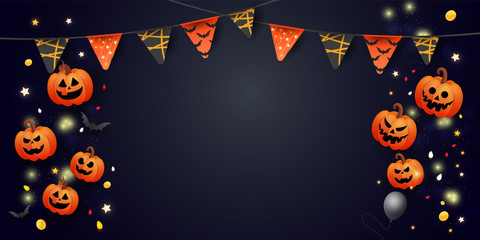Happy Halloween Sale banner with symbols pumpkin, colored garlands and candy on gradient dark background. Can be used for banner, voucher, offer, coupon, holiday sale. Wall mural