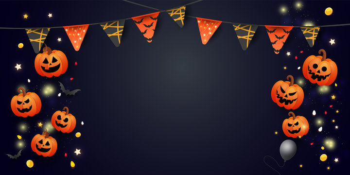 Happy Halloween Sale banner with symbols pumpkin, colored garlands and candy on gradient dark background. Can be used for banner, voucher, offer, coupon, holiday sale.