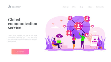 Social media. Distance communication. International business partners. Global network, world device connection, global communication service concept. Website homepage header landing web page template.