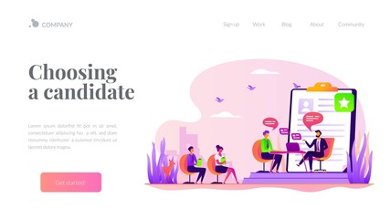 Employee hiring. Recruiter and vacancy candidates. Personnel recruitment. HR management. Job interview, employment process, choosing a candidate concept. Website homepage header landing web page