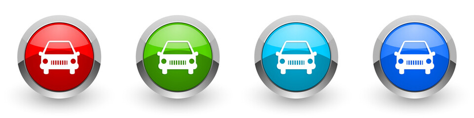 Fotomurales - Car silver metallic glossy icons, red, set of modern design buttons for web, internet and mobile applications in four colors options isolated on white background