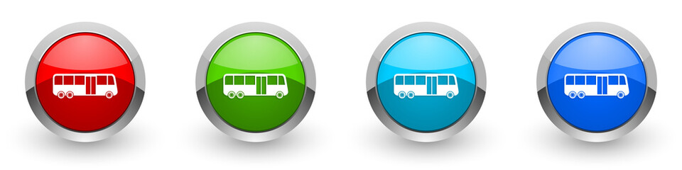 Fotomurales - Bus silver metallic glossy icons, red, set of modern design buttons for web, internet and mobile applications in four colors options isolated on white background