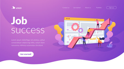 Challenge move for success, confidence winning competition, motivation goals achievement concept. Website homepage interface UI template. Landing web page with infographic concept hero header image.