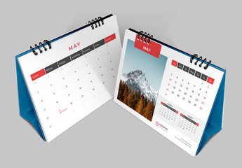 Desk Calendar Planner Layout with Red Accents
