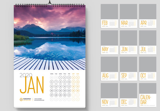 Wall Calendar Layout with Yellow Accents