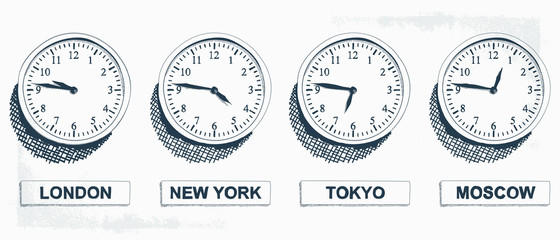 Timezone Business Clock Hand Drawn Illustration. Clocks showing the time around the world. - Vector