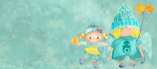 Christmas angel and little girl. Banner for children
