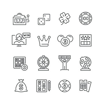 Lottery and gambling related icons: thin vector icon set, black and white kit