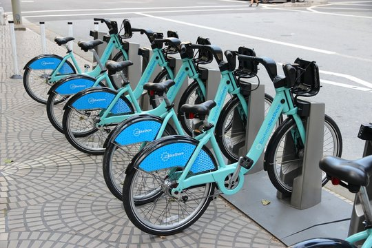 SAN FRANCISCO, USA - APRIL 8, 2014: Bay Area Bike Share station in San Francisco, USA. BABS started in 2013, has 70 stations and 700 bicycles.