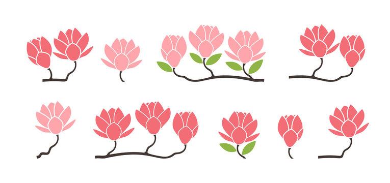 Magnolia logo. Isolated magnolia on white background