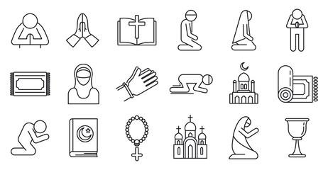 Religion prayer icons set. Outline set of religion prayer vector icons for web design isolated on white background