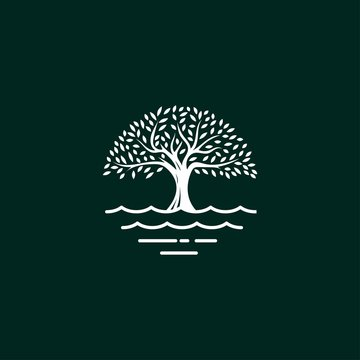 Tree logo design vector template.tree and water symbol