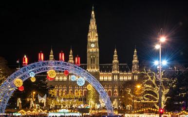 WIEN, AUSTRIA - 8 DECEMBER, 2018: Christmas market at Rathaus in Wien, Austria on 8 December, 2018.