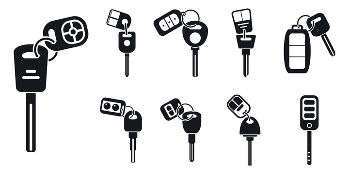 Car alarm system key icons set. Simple set of car alarm system key vector icons for web design on white background