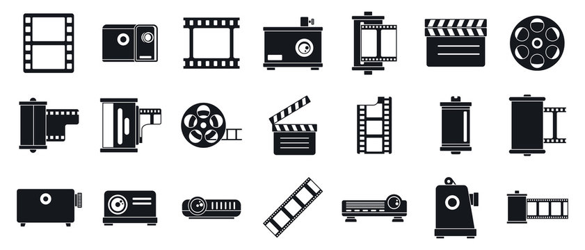 Filmstrip camera icons set. Simple set of filmstrip camera vector icons for web design on white background