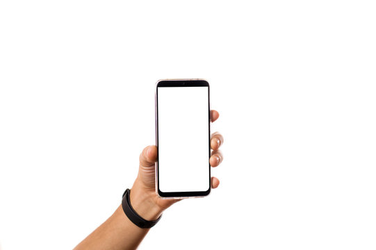 phone in hand with blank screen