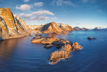Foto op Plexiglas Blauwe jeans Lofoten islands, Norway. Aerial landscape with mountains, islands and ocean. Natural landscape from air. Norway travel - image