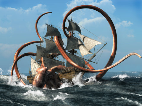 The Kraken is a creature of Scandinavian folklore said to be appear like a giant octopus or squid, a legendary monster capable of bringing down ships. 3D Rendering