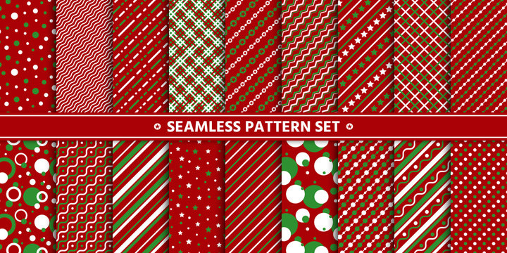 christmas seamless red strip circle pattern vector